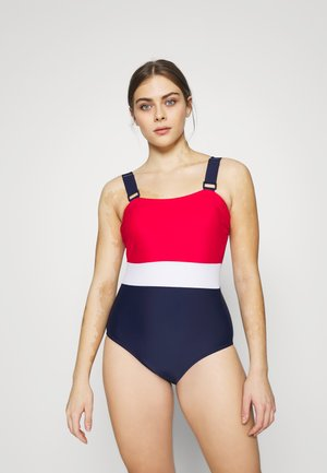 COLOUR BLOCK CONTROL SWIMSUIT - Swimsuit - red/white/navy