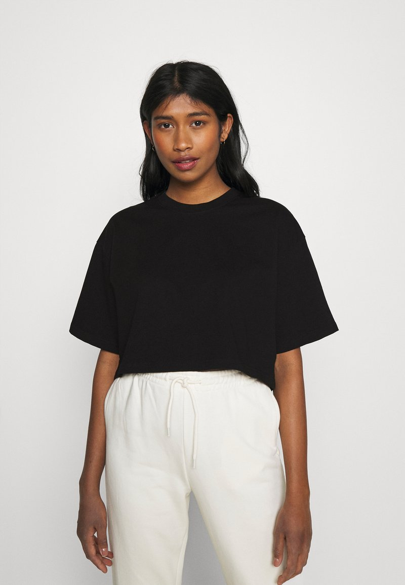 Gina Tricot - CLAIRE CROPPED TEE - Basic T-shirt - black