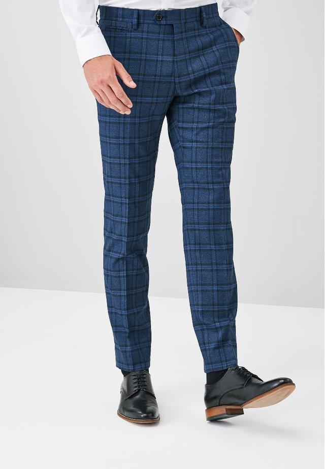 CHECK - Oblekové kalhoty - blue