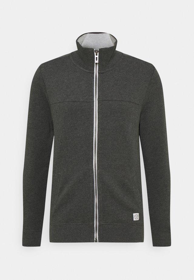 WITH CUTLINE - Zip-up hoodie - dark grey melange