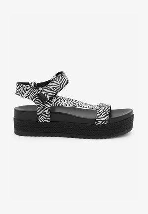 SPORTY - Platform sandals - black / white
