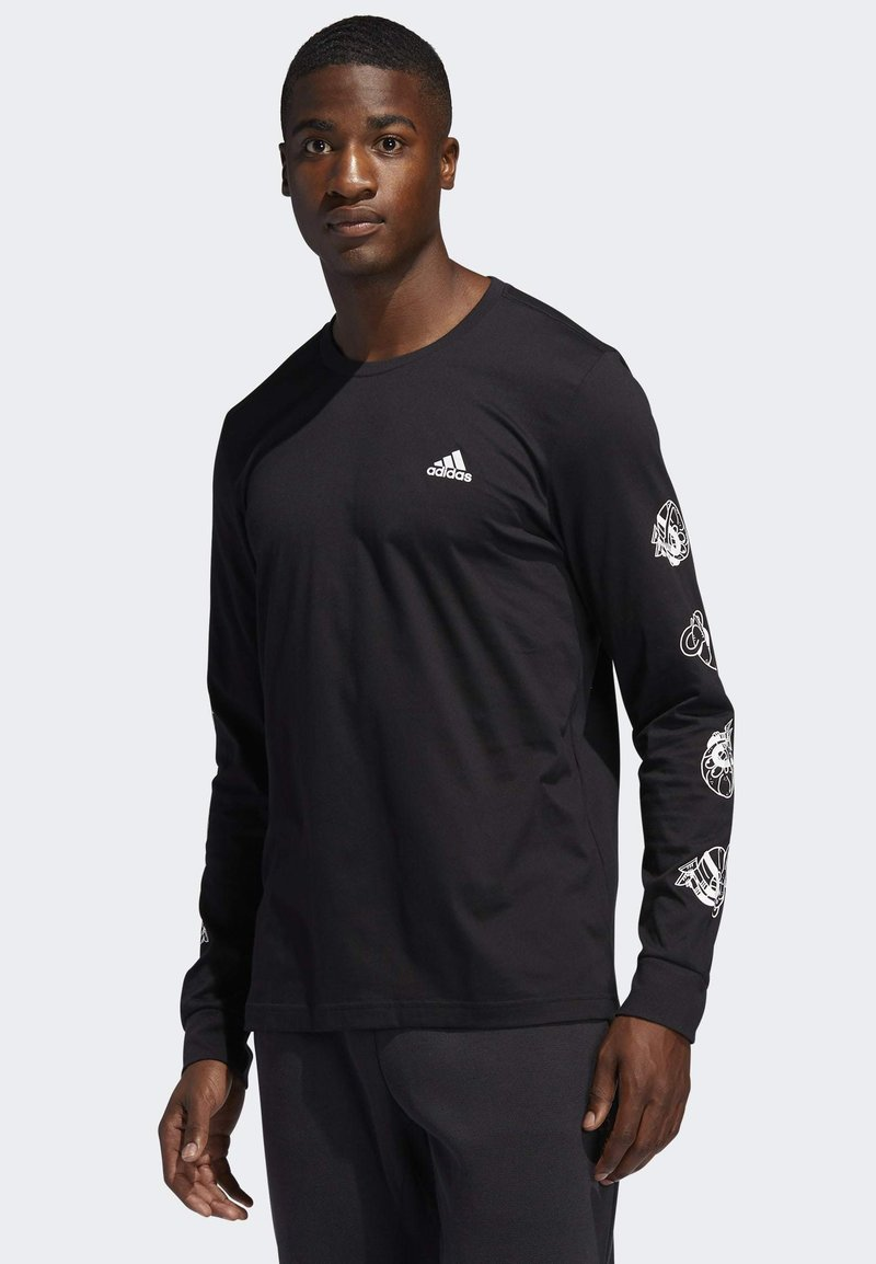 adidas Performance - LIL STRIPE CANNONBALL T-SHIRT - Long sleeved top - black