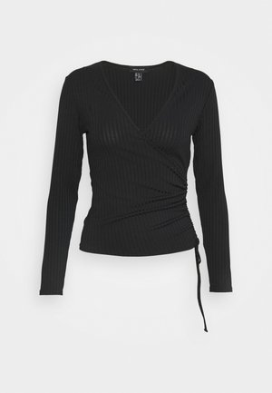 CARLY WRAP RUCHED SIDE - Long sleeved top - black