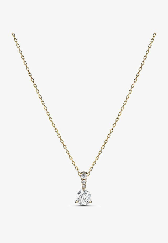 SOLITAIRE PENDANT, WHITE, GOLD-TONE PLATED - Necklace - gelbgold