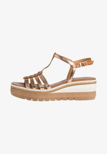 Platform sandals - nut gold