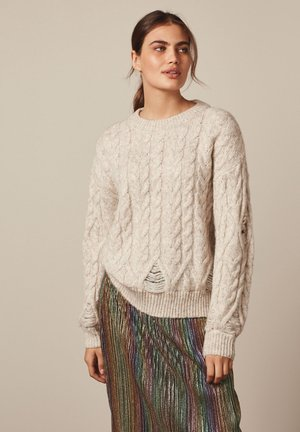 DISTRESSED CABLE  - Jumper - off-white