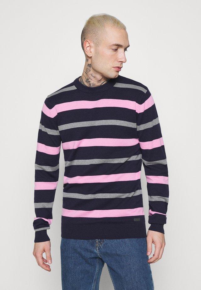 SONNIE - Trui - french navy/grey marl/pink