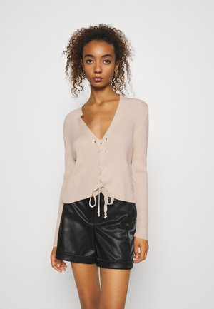 LACE UP - Cardigan - beige
