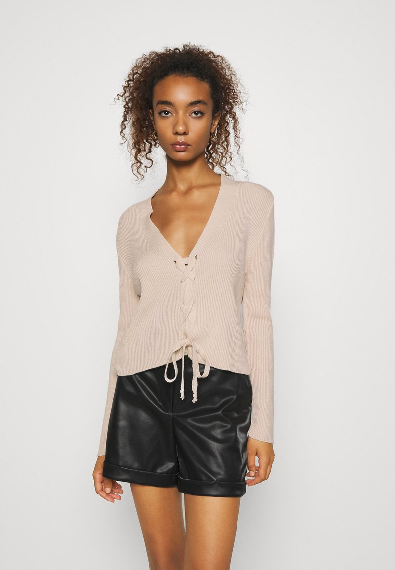 Missguided - LACE UP - Cardigan - beige
