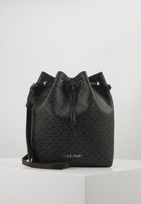 Calvin Klein - DRAWSTRING BUCKET BAG MONOGRAM - Sac bandoulière - black - 0