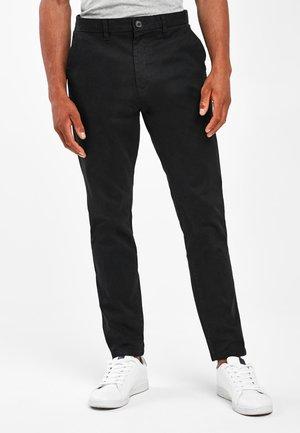 DARK BLUE TAPERED SLIM FIT STRETCH CHINOS - Chino kalhoty - black