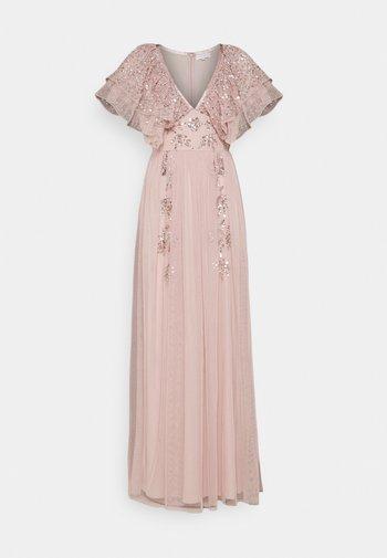 V NECK RUFFLE EMBELLISHED DRESS - Ballkjole - frosted pink
