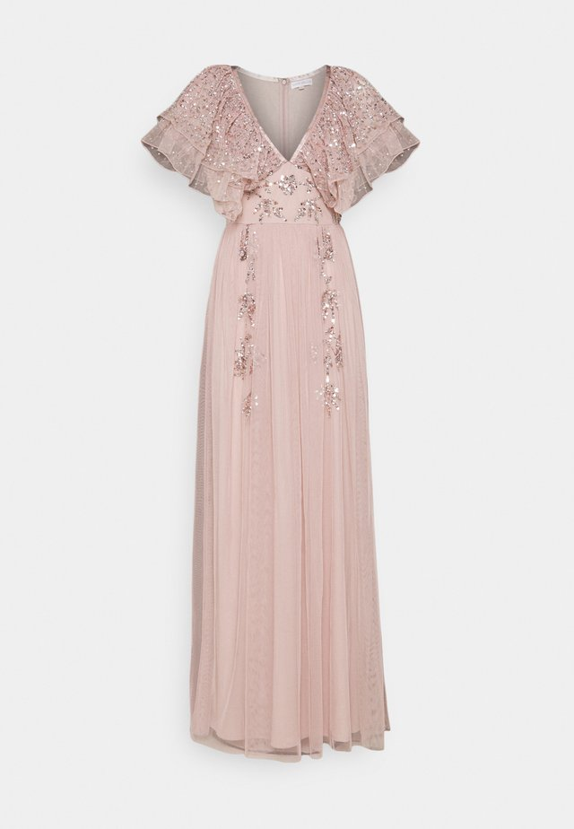 V NECK RUFFLE EMBELLISHED DRESS - Occasion wear - frosted pink