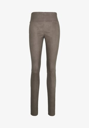 MOLLY PRINT - Leather trousers - anthracite