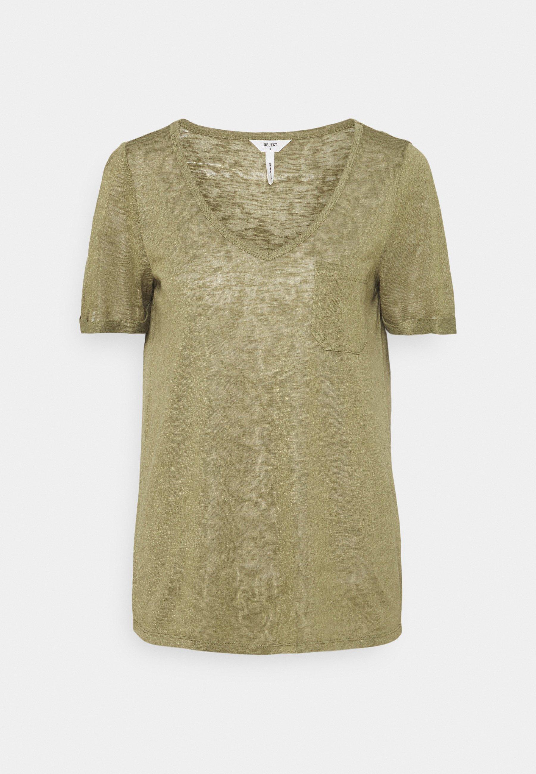 Damen OBJTESSI SLUB VNECK - T-Shirt print