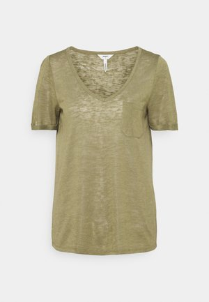 OBJTESSI SLUB VNECK - Camiseta estampada - deep lichen green