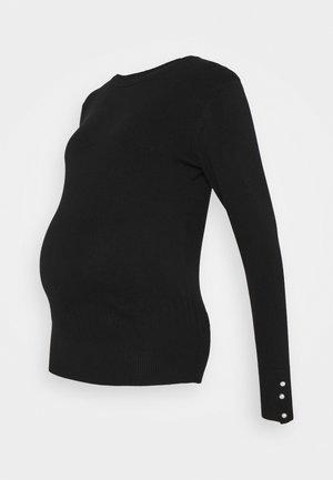 PEARL CUFF CREW NECK JUMPER - Jumper - black