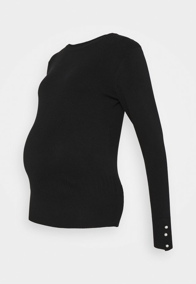 PEARL CUFF CREW NECK JUMPER - Trui - black