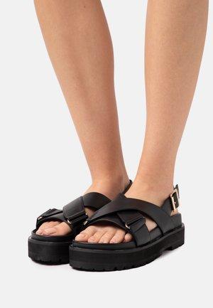 VEGAN ROMY - Korkeakorkoiset sandaalit - black