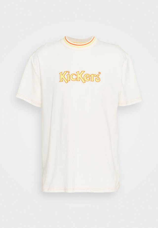 TEE WITH LARGE LOGO ON CHEST - T-shirt print - ivory/yellow