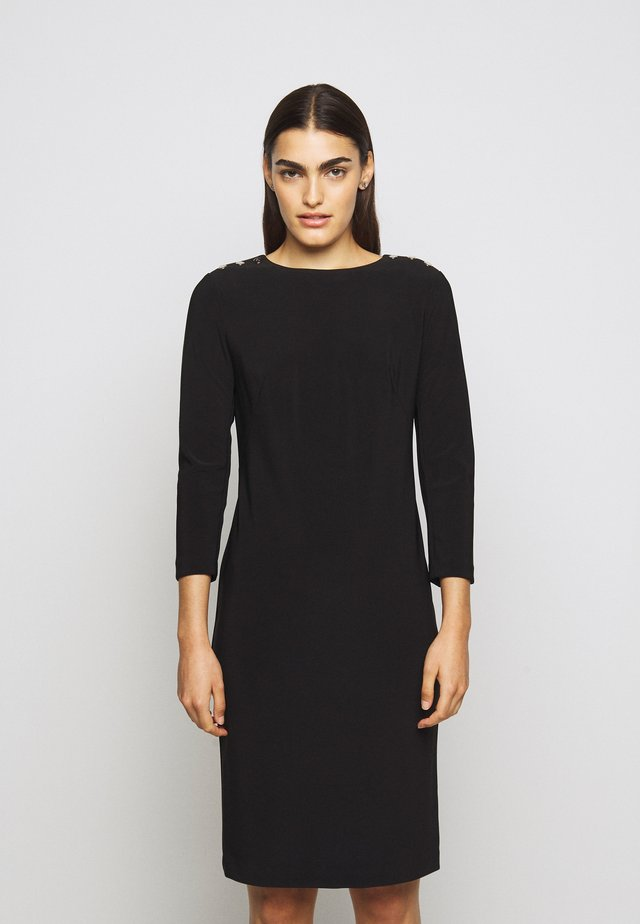 BONDED DRESS TRIM - Pouzdrové šaty - black