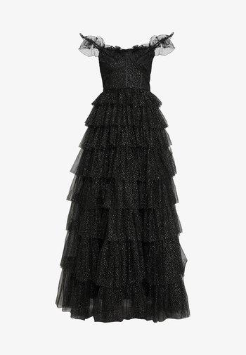 GLITTER BARDOT MAXI DRESS WITH TIERED SKIRT - Vestido de fiesta - black