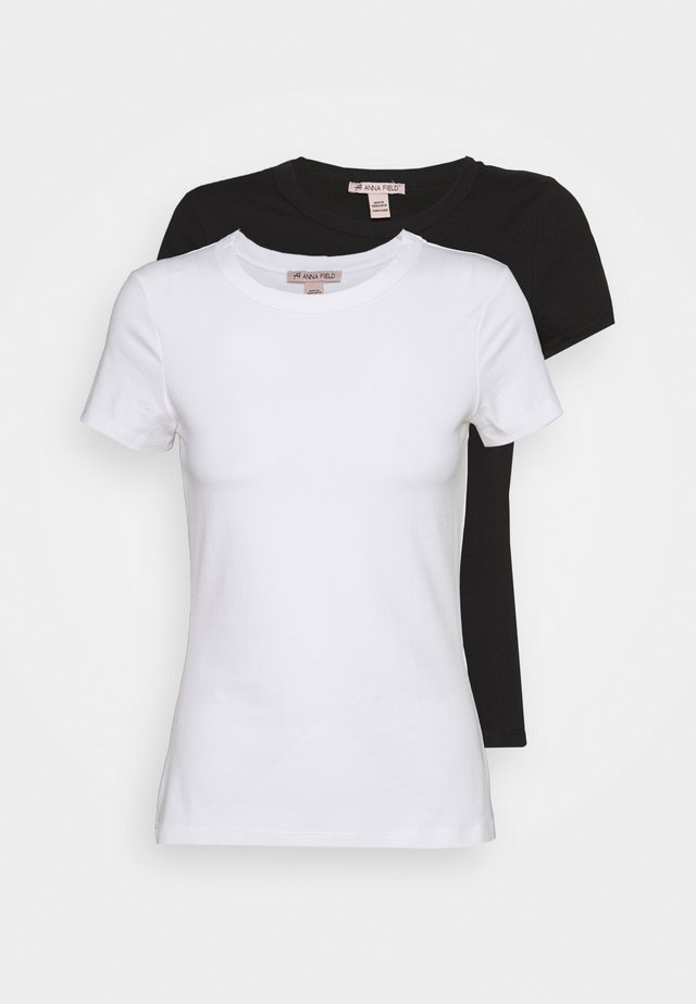 2 PACK - T-shirts - white/black