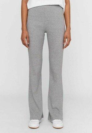 HIGH WAIST - Trousers - light grey melange