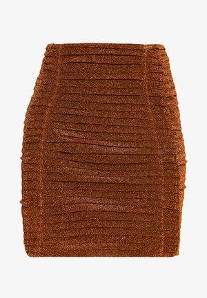 GATHERED MINI SKIRT - Minisukně - bronze