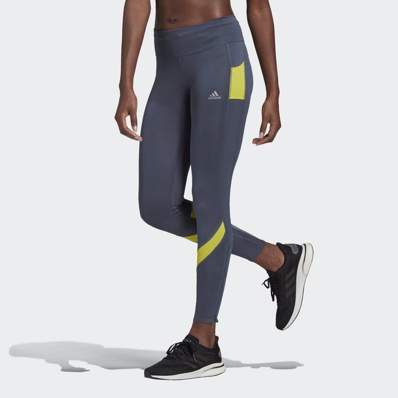 adidas Performance - RESPONSE AEROREADY SPORTS RUNNING LEGGINGS - Tights - legacy blue/acid yellow