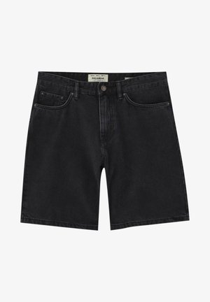 BERMUDA - Denim shorts - mottled black