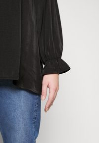 Glamorous Curve - BROIDERY TRIM BLOUSE WITH LONG SLEEVES AND HIGH-NECK  - Blouse - black - 4