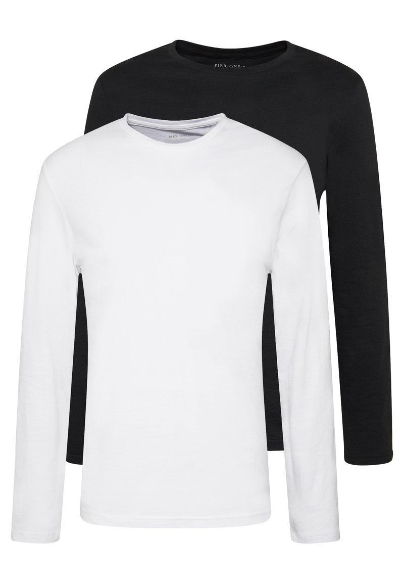 Pier One - 2 PACK - Long sleeved top - white/black