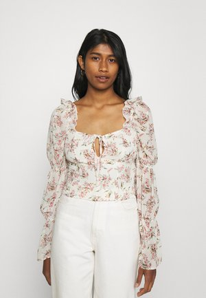 FLORAL FRILL SHOULDER TIE NECK BLOUSE - Bluser - cream