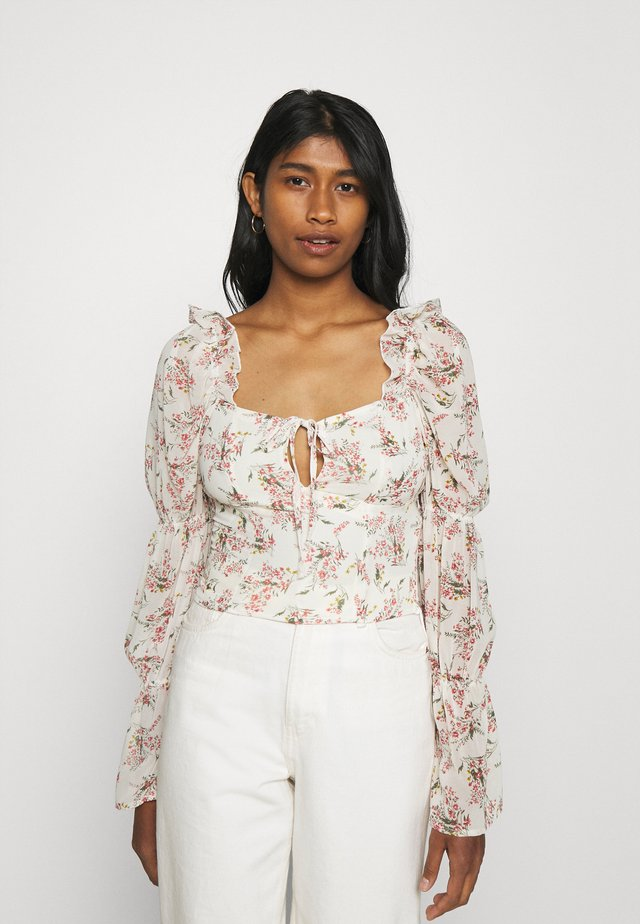 FLORAL FRILL SHOULDER TIE NECK BLOUSE - Blus - cream