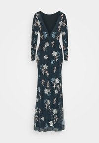 Maya Deluxe - LONG SLEEVE FLORAL EMBROIDERED MAXI WITH OPEN BACK - Společenské šaty - navy - 1