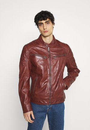 DERRY - Leather jacket - dark cognac