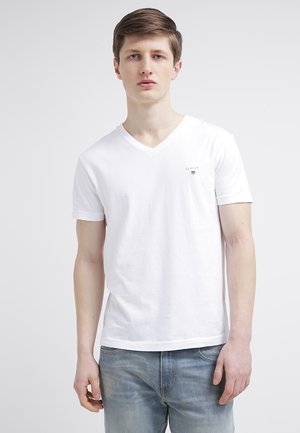 THE ORIGINAL SLIM V NECK - T-shirt - bas - white