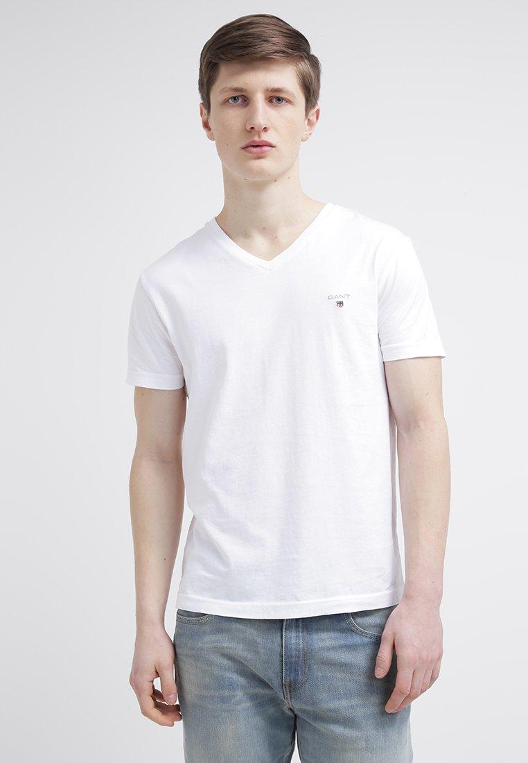 GANT - ORIGINAL SLIM V NECK - T-shirt - bas - white