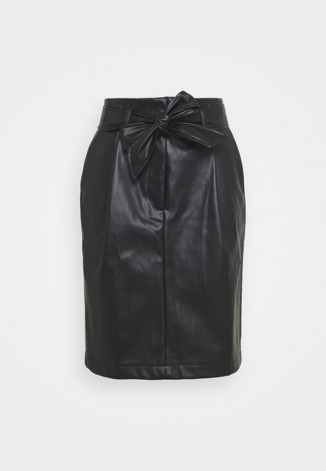 VMSOLAMYNTE SHORT COATED SKIRT - A-line skirt - black