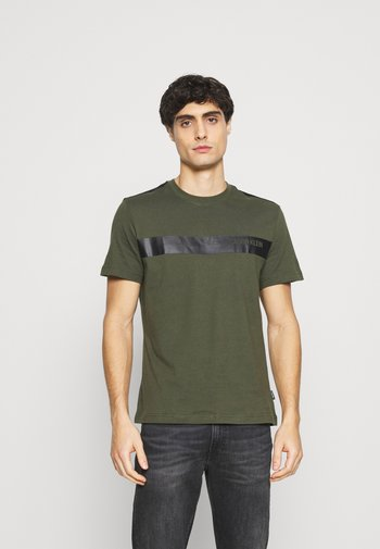 BOLD STRIPE LOGO - Print T-shirt - green