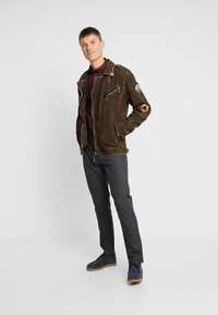 Freaky Nation - ELECTRIC MAN - Leather jacket - olive - 1