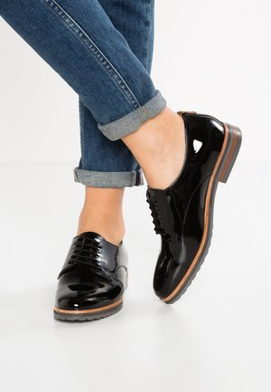 LEATHER FLAT SHOES - Snøresko - black