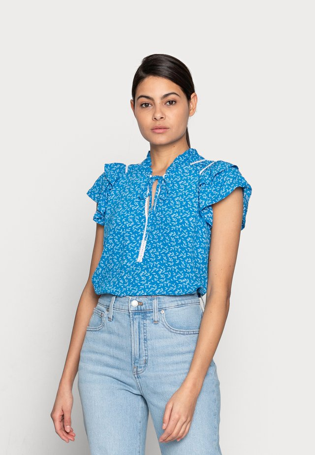TOP RUFFLES SUMMER LEAF - Blouse - blue