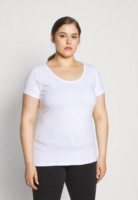 Anna Field Curvy - 3er PACK  - T-shirts - white/black/dark grey - 4