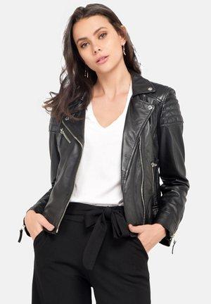 SALOME - Leather jacket - black