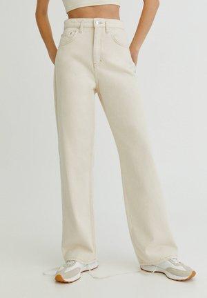 MIT HALBHOHEM BUND - Jeans straight leg - mottled beige