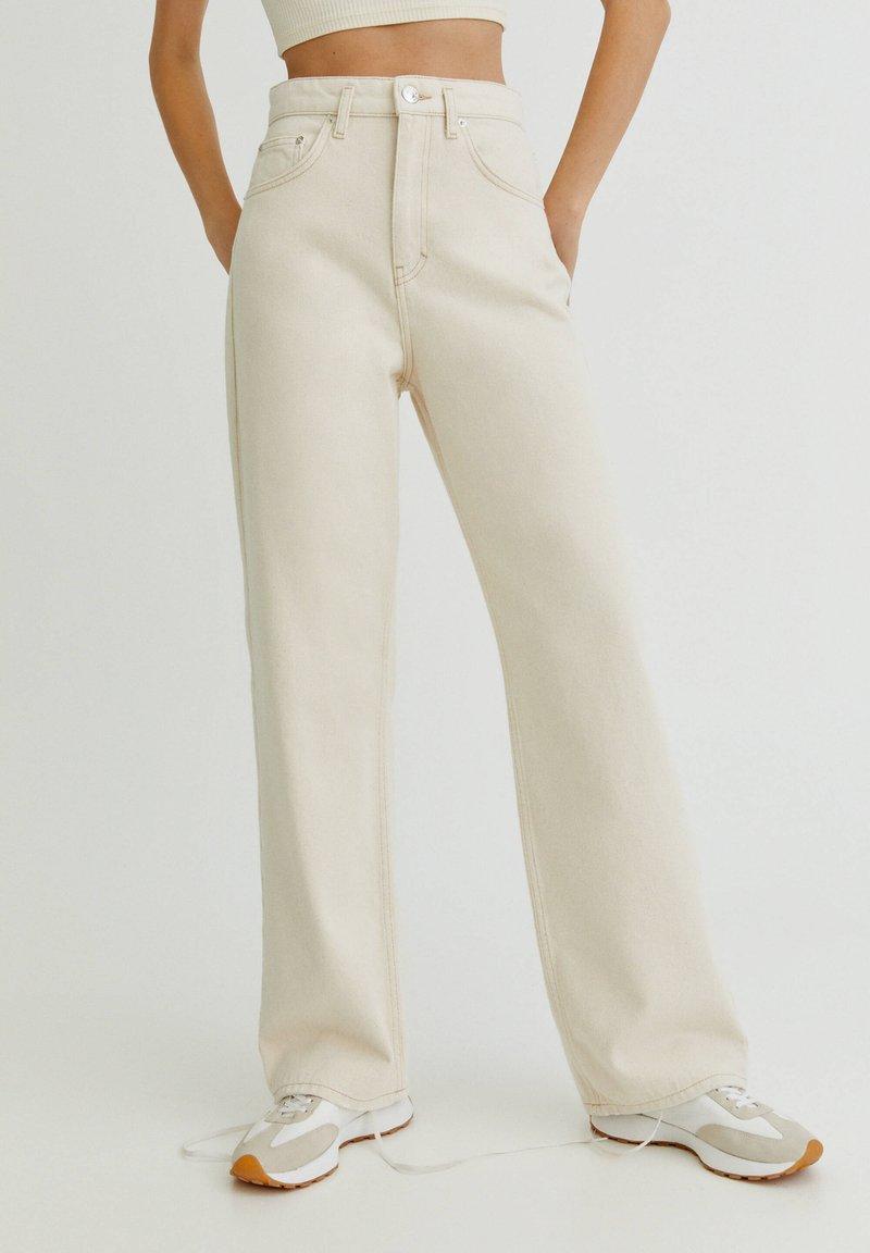 PULL&BEAR - MIT HALBHOHEM BUND - Straight leg -farkut - mottled beige