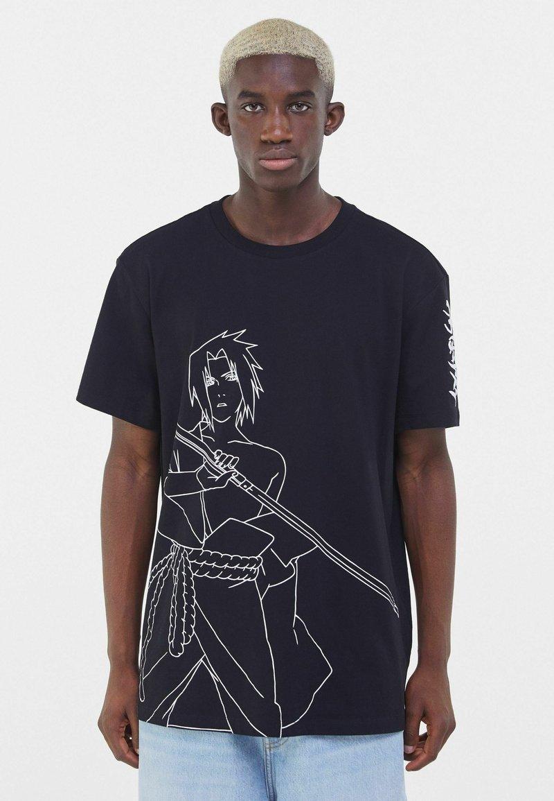 Bershka - NARUTO - T-shirt z nadrukiem - black