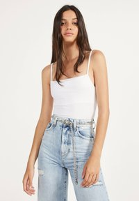 Bershka - GLATTER TRÄGER-BODY - Top - white - 0